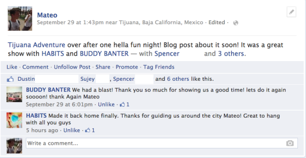 Buddy Banter and HABITS showing their appreciation for the adventure after playing a show together!