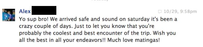 Facebook message of a happy traveler with Tijuana Adventure