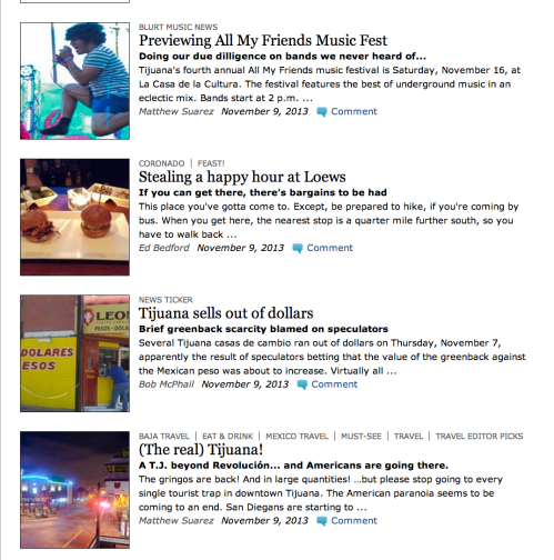 Screencap of my articles published in the San Diego Reader