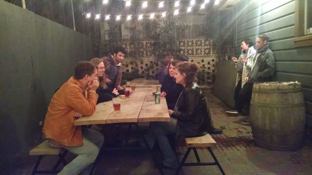 Haydeé is on the right - Group of visitors at Public House tap room